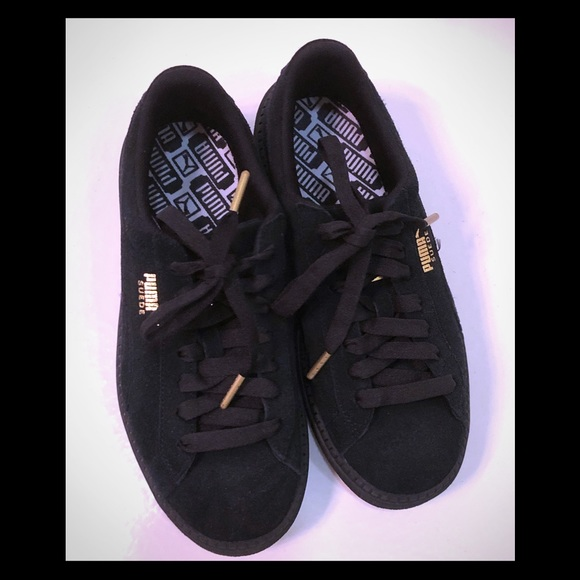 new product b5839 47439 Black Puma suede platform trace sneakers